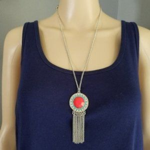 Jewelry - Boho Coral Rhinestone TURQUOISE Medallion Necklace